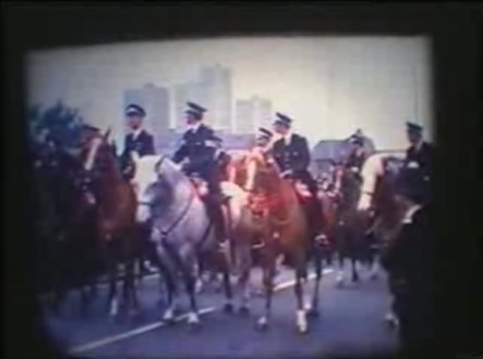 Police horses leading the march