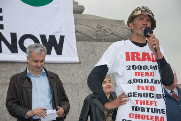 Brian speaks while Andrew Murray(Stop the War)and Kate Hudson (CND) wait their t
