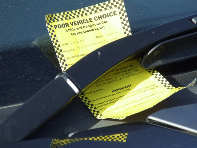 Many luxury 4x4s were given spoof parking tickets