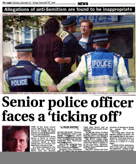 Tony Greenstein Blog: Open Letter To Chief Constable Of Sussex Police