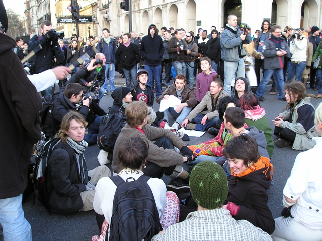 Parliament Square sit down.