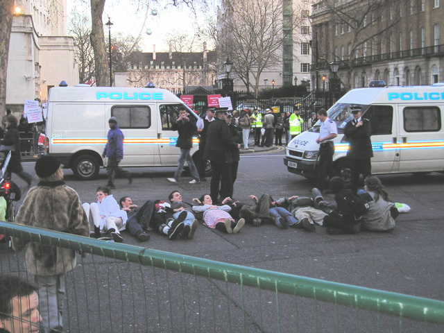 Having a rest outside Downing Street.