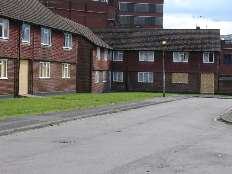 boarded-up maisonettes Firgrove Court
