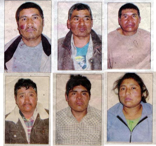 The imprisoned villagers shortly after they were beaten by the paramilitaries.