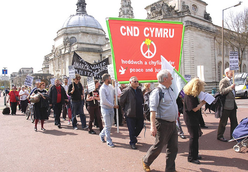 CND Cymru banner, now facing the right way!