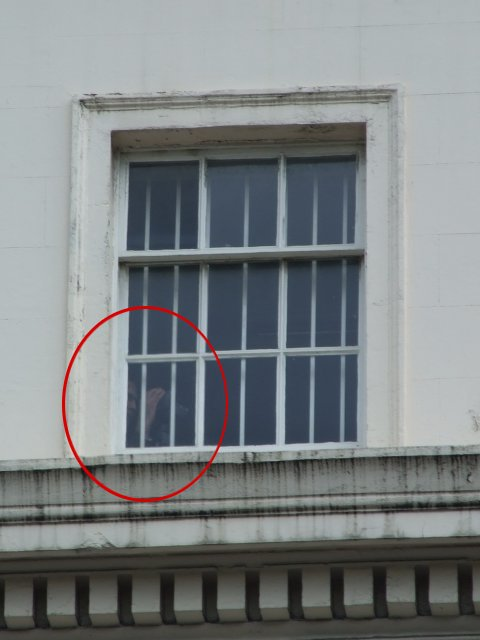 once again, a video camera spotted in the embassy windows filming protesters