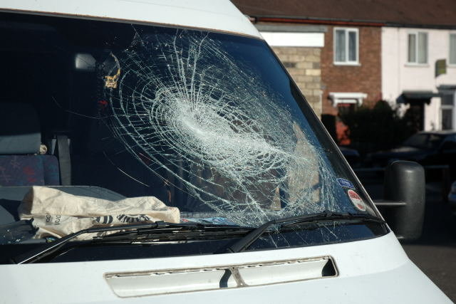 Plus the windscreen of the van parked round the back.