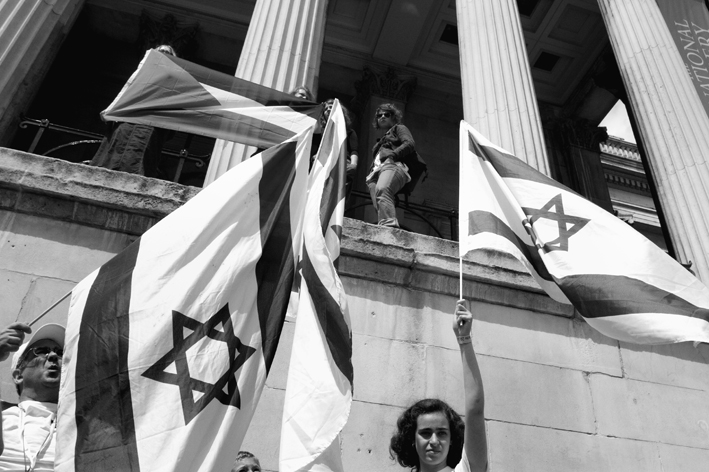UK, London. 'Salute to Israel' march. Israelis respond to the counter-demo.