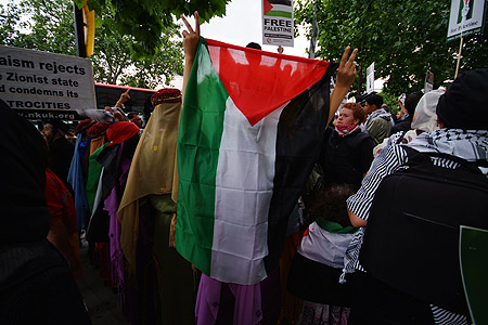 A Palestinian flag at the Palestinian protest.
