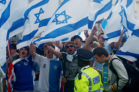 Chanting Israeli supporters...