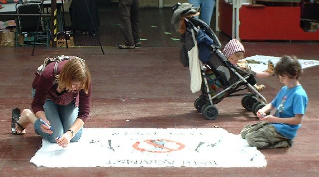 People Signing 'Bath Against Coal Power' Banner