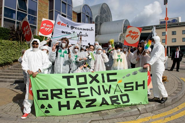 Greenwash guerillas assemble outside conference