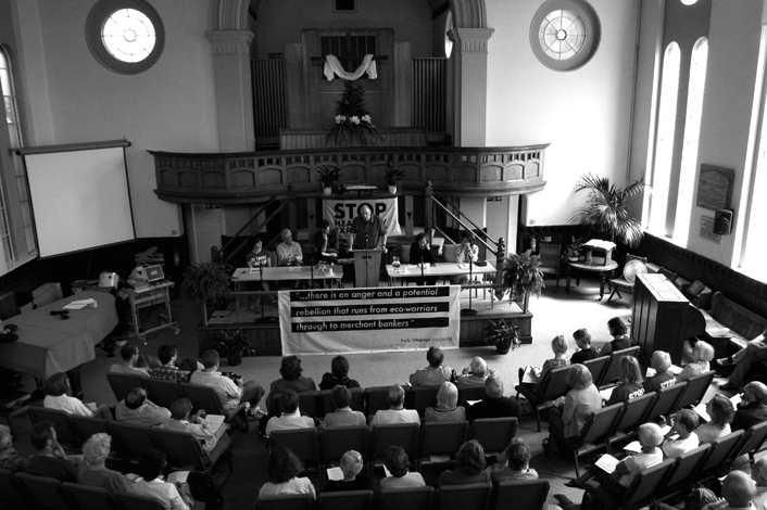 UK, Greater London. Climate camp press conference, Harlington Baptist church.