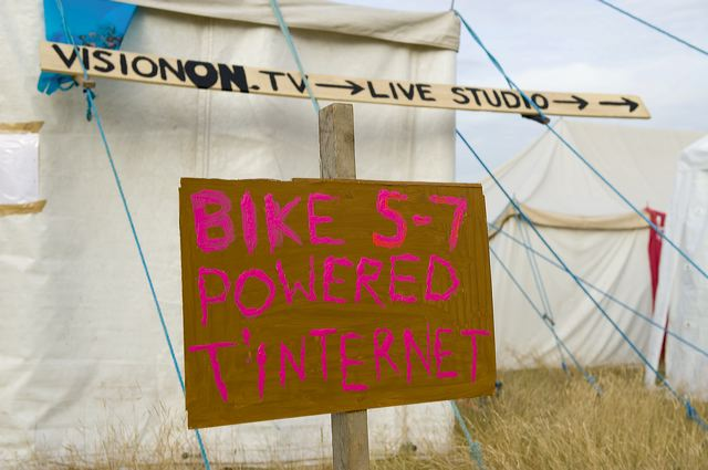 Some of the power - even for the TV studido - is provided by cyclists.