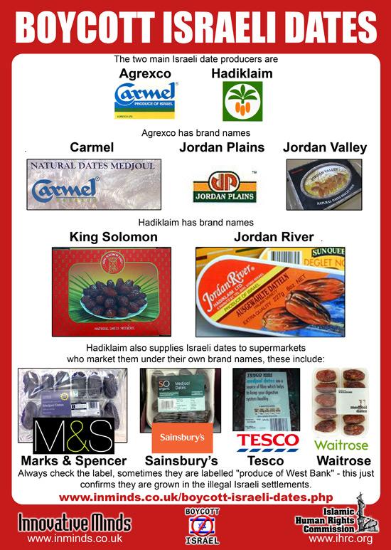 See website to obtain Boycott Israeli Dates leaflets