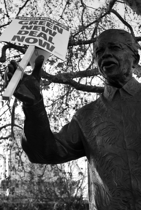 National climate March. Nelson Mandela statue + banner. Parliament Sq. 06.12.08