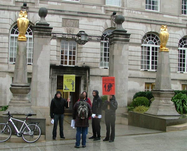 Group outside the public entrance to Leeds Civic Hall