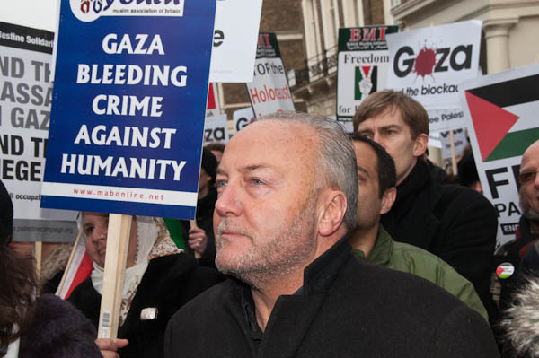 George Galloway in the crowd listening to speeches