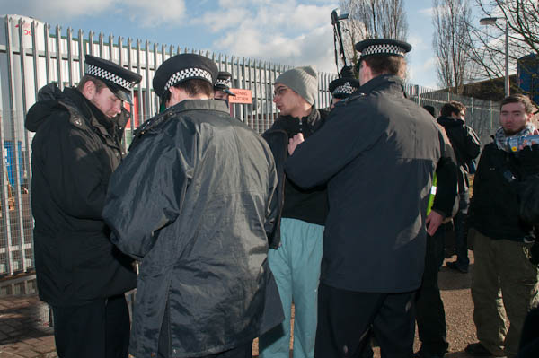 Police stop and search one protester