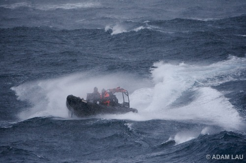 Delta boat braces rough seas during a deployment to pursue the Yushin Maru No. 2
