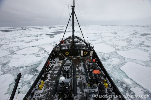 The ship is completely enclosed by ice as it tries to navigate to open waters
