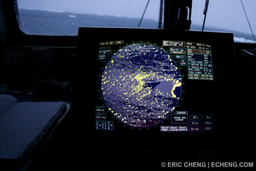 Radar image shows the ship is blocked in by a dense field of icebergs