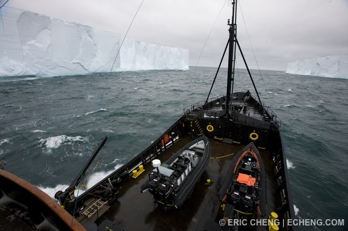 The M/V Steve Irwin navigates between two large tabletop icebergs in Antarctica