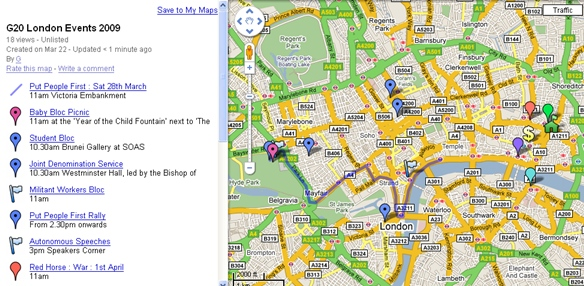 Google Map of G20 Events at: http://tiny.cc/gZxZ6