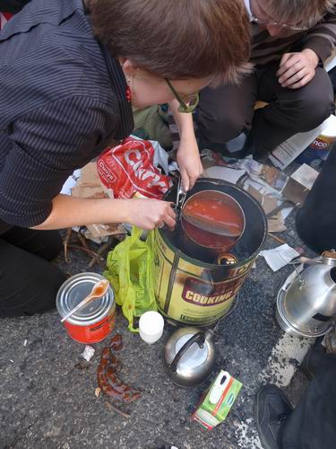 Hot beans and beer? from the rocket stoves