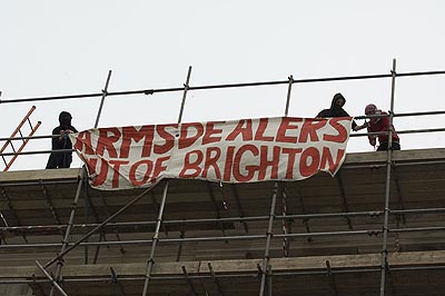 A banner gets dropped.