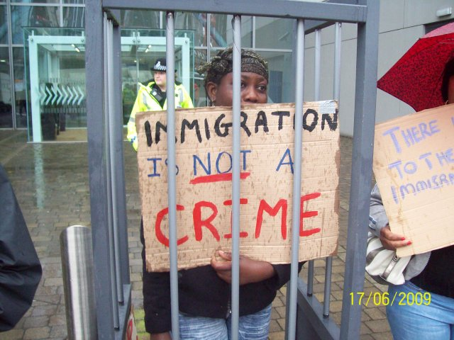 We used street-theatre to highlight the oppression migrants face in this country
