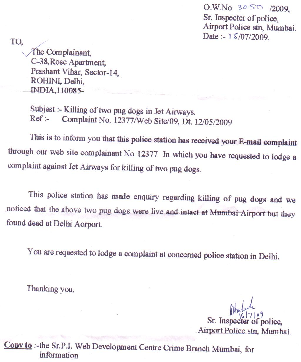 Open complaint against jet airways for one pair pug killing mumbai police investigation report about killing of pug pair during jet airways spiritdancerdesigns Image collections