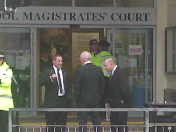 Steve Greenhalgh and other local BNP before the hearing