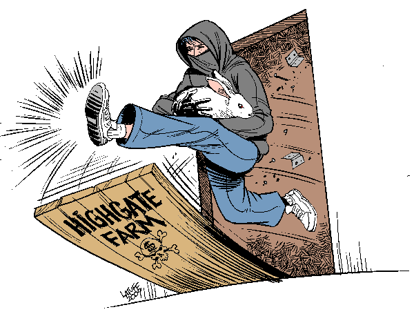 Operation Liberation: Highgate Rabbit Farm (by Latuff)