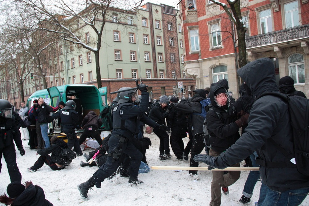 police attacking antifascists
