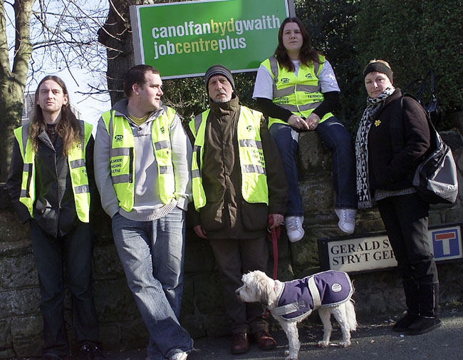 Jobcentre Plus Strikers in Wrexham, N. Wales
