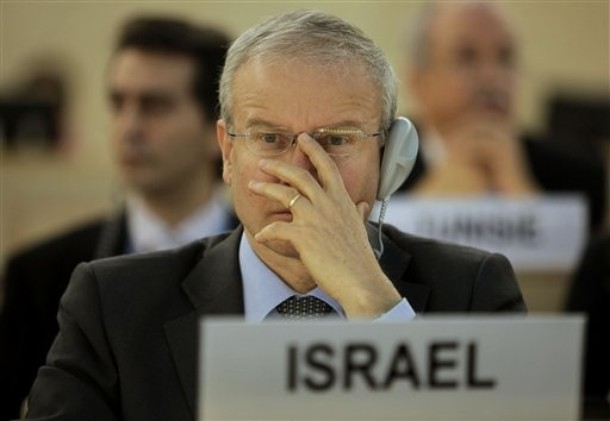 Israeli ambassador gestures during the UN Human Rights Council session on 24 Mar