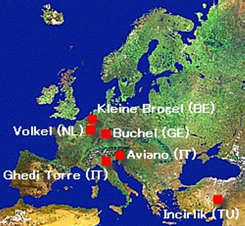 US. nuclear weapon bases in Europe (2008)