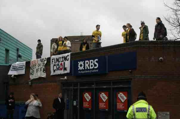 Eviction demo - rooftop occupation of RBS branch at Manchester campus - Feb 2009