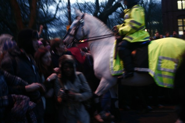 horse charge, lucky no one was injured.