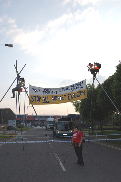 Roadside blockade of Manchester Airport World Freight Centre - May 2010