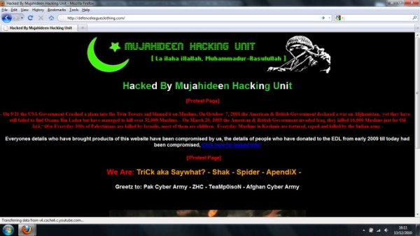 EDL Clothing Website Hacked