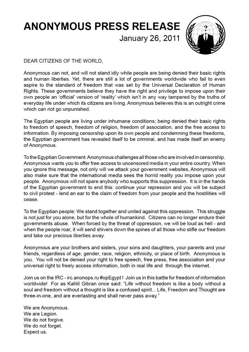 Anonymous press statement operation egypt uk indymedia altavistaventures Images