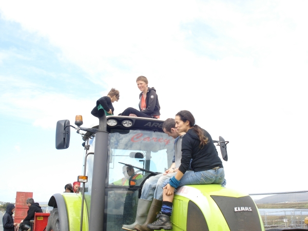 Protestors occupying the tractor