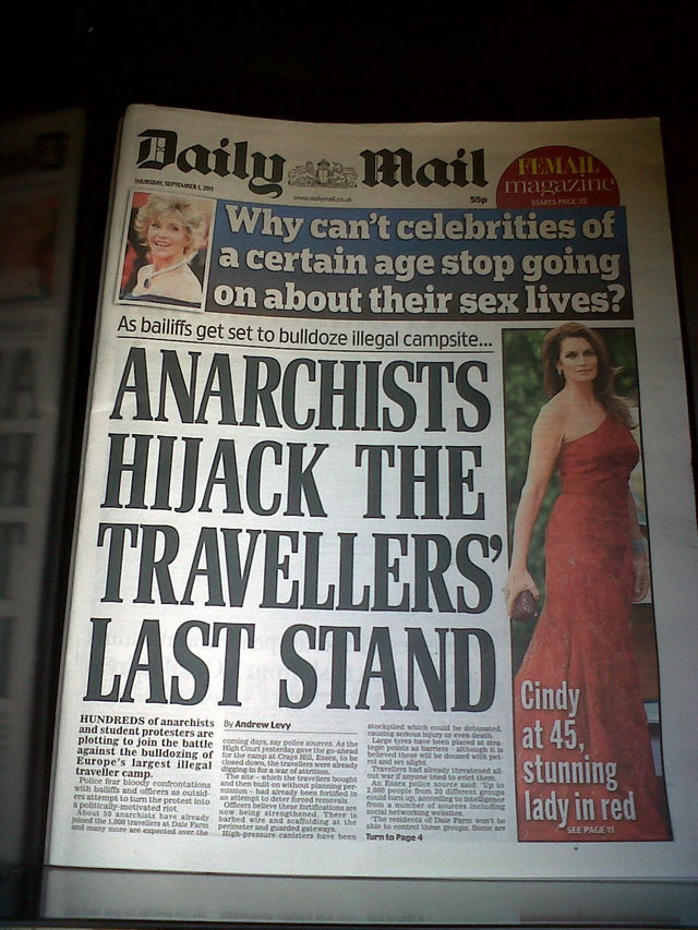 Daily Mail front page 1st September 2011