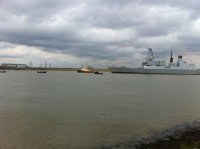 HMS Dauntless and police boats