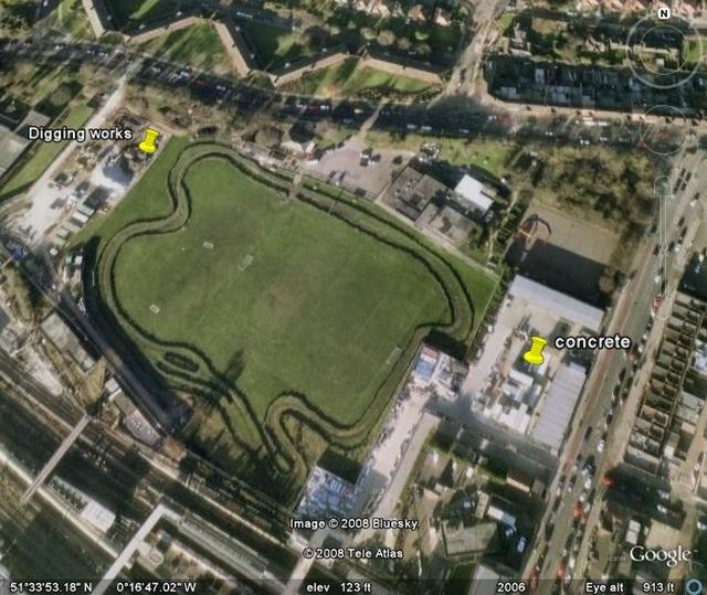 Google earth image with yellow markers