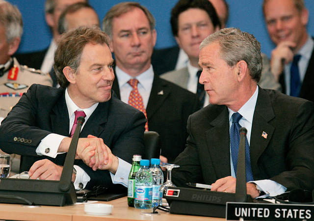 George Bush and Tony Blair attend the NATO summit in Istanbul, 28 June 2004