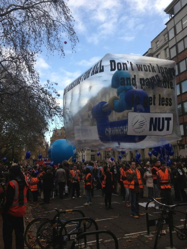 a HUGE 'float' at Lincoln Inn Fields ready to be pulled by the NUT