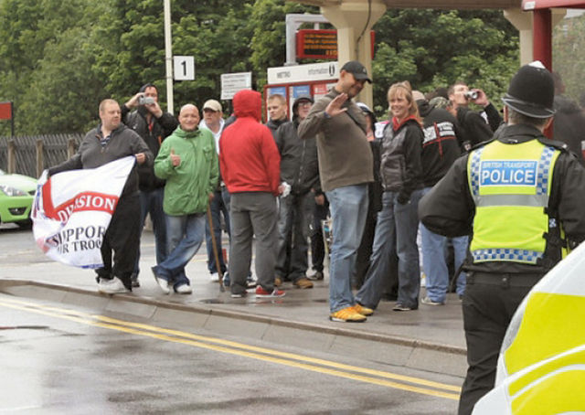 Supporters of the far-right English Defence League stopped off in Hebden Bridge